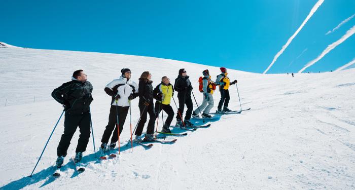 group of skiers in ski school